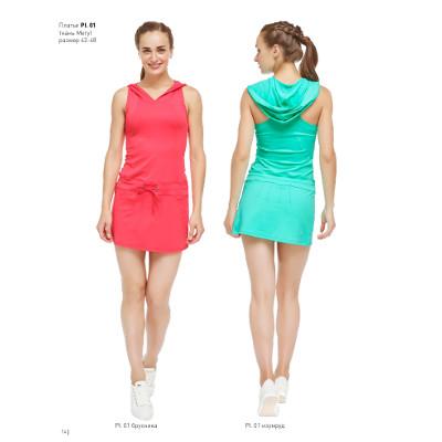 Платье с капюшоном и множеством декоративных линий — Pl.01